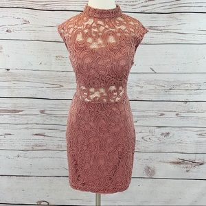 B. Darlin mauve pink lace sheath dress